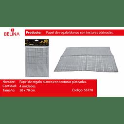 PAPEL DE REGALO BLANCO/PLATA BRILLANTE 4PCS 50*70CM