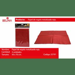 Papel de regalo rojo brillante 4pcs 50*70cm