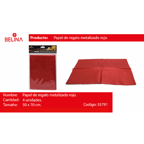 Papel de regalo rojo brillante 4pcs 50*70cm