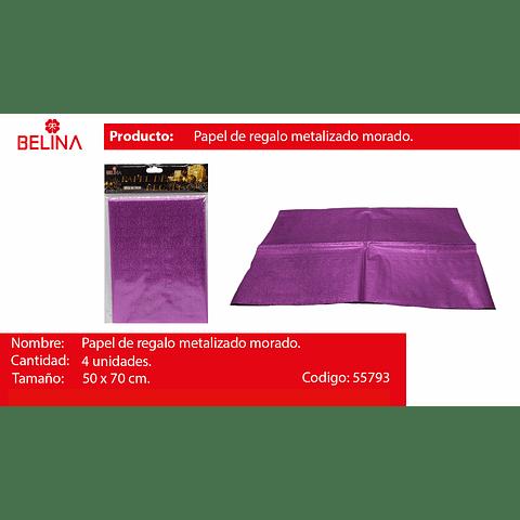 Papel de regalo lila metalico 4pcs 50x70cm