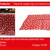 Papel De Regalo Rojo Con Lazos Plata 4pcs 50x70cm