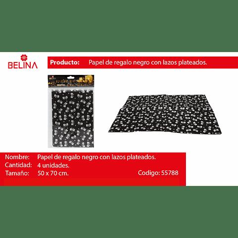 Papel de regalo negro con lazos plata 4pcs 50x70cm
