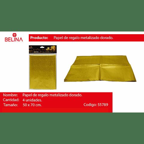 Papel De Regalo Brillante Dorado 4pcs 50x70cm