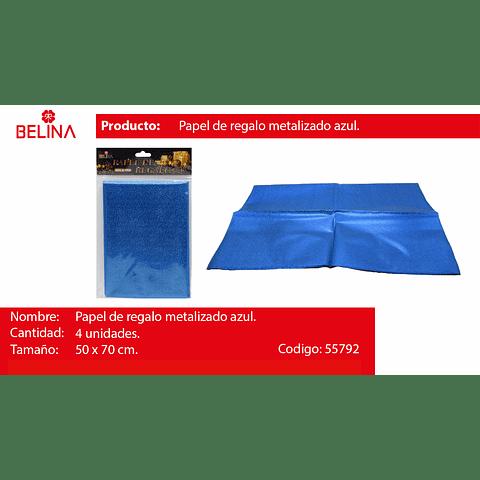 Papel de regalo azul metalico 4pcs 50*70cm