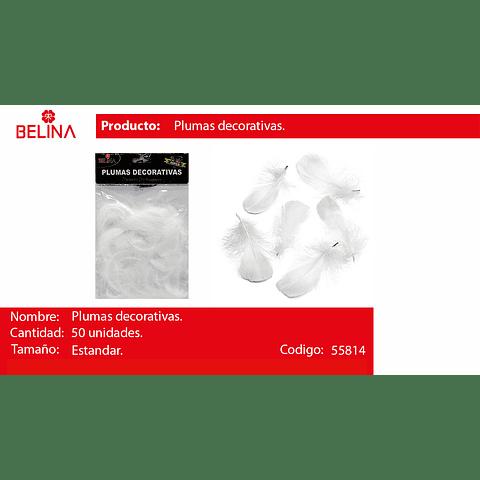 Plumas decorativas blanca 50pcs
