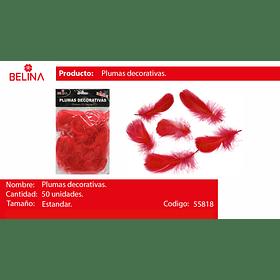 Plumas decorativas rojo 50pcs