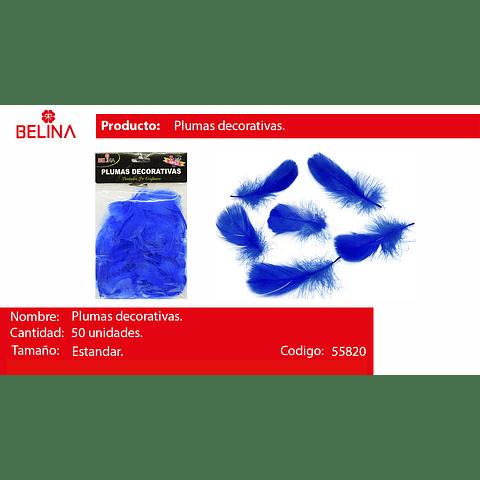 Plumas decorativas azul 50pcs