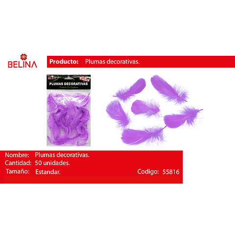 Plumas decorativas lila 50pcs