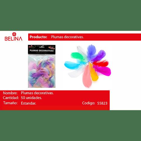 Plumas decorativas colores 50pcs