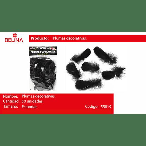 Plumas decorativas negro 50pcs