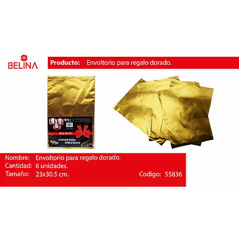 Envoltorio para regalo oro 23*30.5cm