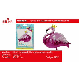 GLOBO METALICO FLAMINGO/CORONA 98*92CM