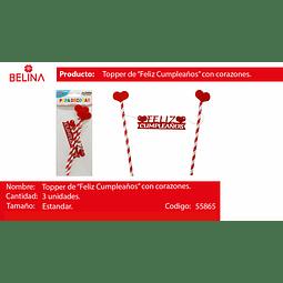 TOPPER PARA TORTA CORAZONES ROJO F/C 1SET 3PCS