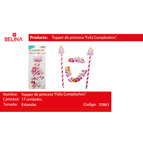 Topper para torta castillo princesas 1set 17pcs