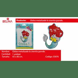 GLOBO METALICO FORMA DE SIRENITA 65*80CM
