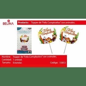Topper para torta animales/hojas f/c 1pcs