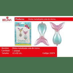 GLOBO METALICO COLA DE SIRENA 42*85CM 1PCS