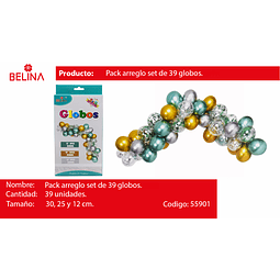 "ARCO ORGANICO TURQUESA/PLATA 12""8PCS 10""23PCS 12""8PCS"