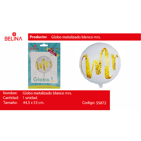 Globo metalico mrs blanco 44.5*53cm