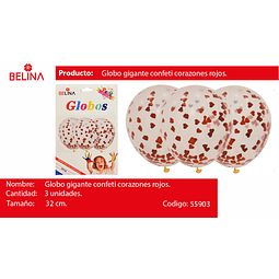 "Globo de latex con challa corazones/rojo 12""-32cm"