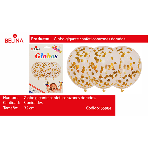 """Globo de latex con corazones dorado 3pcs 12""""-32cm"""