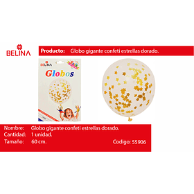 """Globo de latex con challa estrellas/dorado 18""""-42cm"""