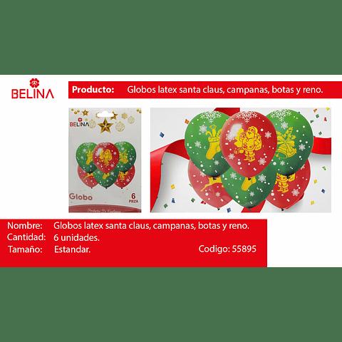 Globos de latex san nicolas/bota/campana 6pcs