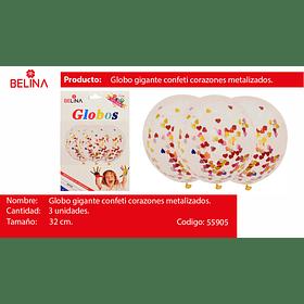 """Globo de latex challa corazones de colores 3pcs 12""""-32cm"""
