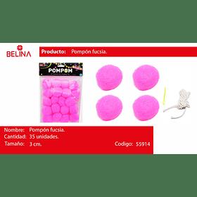 Pompones rosa 3cm 35pcs