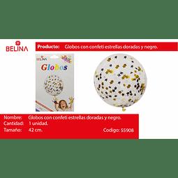"""Globo delatex con challa estrellas/negro/dorado 18""""-42cm"""