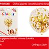"""Globo Con Challa Circulos/Dorado 24""""-60cm"""