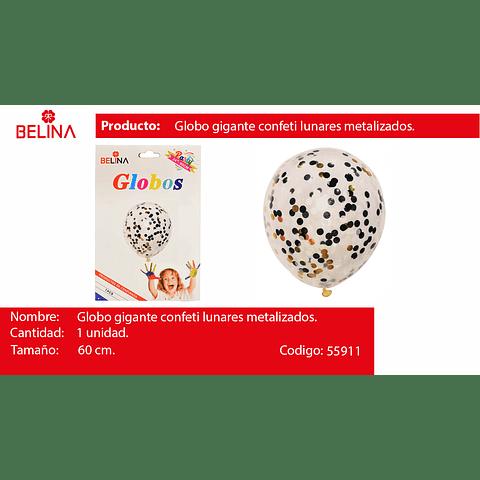 """Globo burbuja con challa circulos/negro/oro 24""""-60cm"""