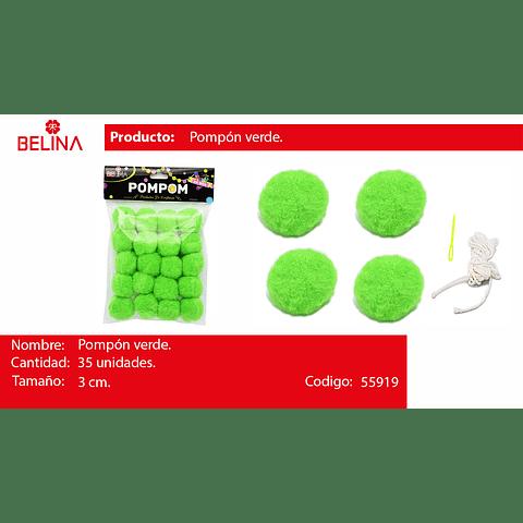 Pompones verdes 3cm 35pcs