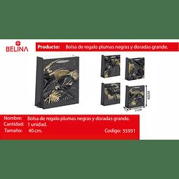 Bolsa de regalo grande hojas oro/negro 31*40*12cm