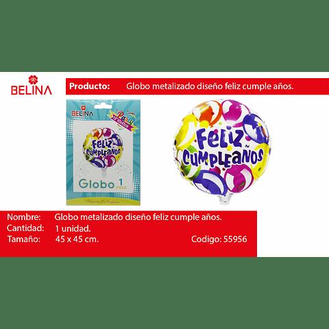 """Globo metalico feliz cumpleanos colores 18"""" 45*45cm"""