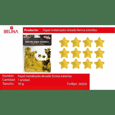 Challa metalica de estrellas dorada 30g