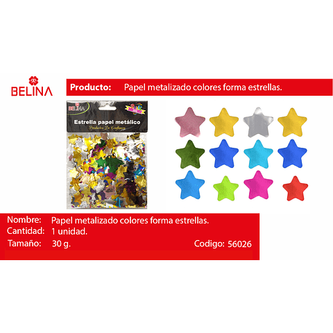 Challa Metalica De Estrellas Multicolor 30g