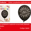Globo de latex negro/plata feliz cumpleaños 6pcs 30cm