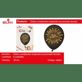 "Globo de latex feliz cumplea#os negro/oro 6pcs 12"" 30cm"