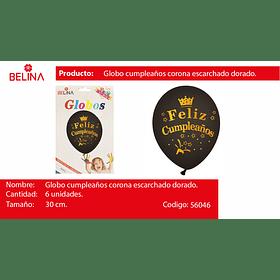 "Globo de latex negro/oro f/c corona 6pcs 12""-30cm"