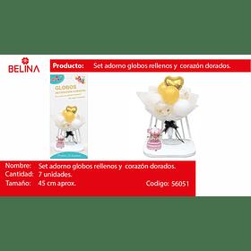 Set arreglo de globos dorado/blanco/globo con challa 7pcs
