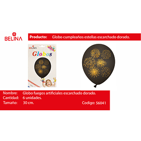 "Globo de latex negro/oro cohetes 6pcs 12""-30cm"