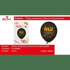 "Globo de latex negro/oro f/c 6pcs 12""-30cm"
