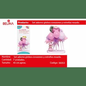 "Set arreglo de globos lila/rosa/hojas/corazon 9"" 7pcs"