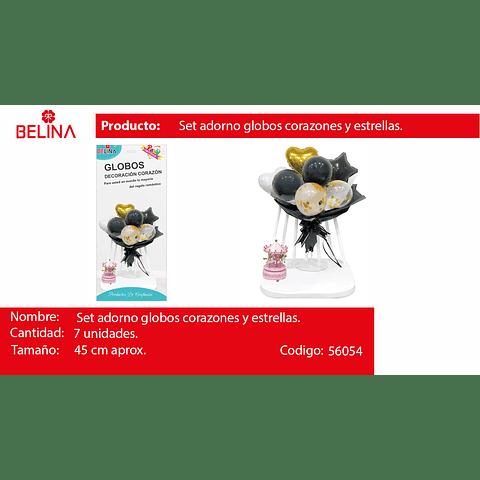 Set Arreglo De Globos Negro/Globo Challa Corazon/Estrella