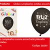 Globo De Latex Feliz Cumpleaños Negro/Plata 6pcs 30cm