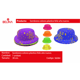 Sombrero fluor feliz año nuevo 28-30cm