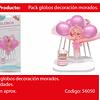 Set Arreglo De Globos Rosado/Globo Con Challa 7pcs