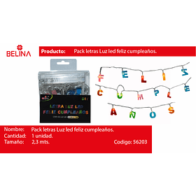 GUIRNALDA LED FELIZ CUMPLEA#OS 2.3METROS