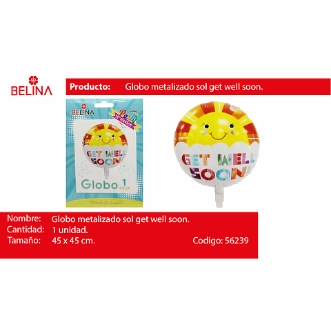 "Globo metalico sol recuperate pronto 18"" 45*45cm 1pcs"
